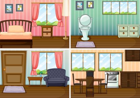 Illustration pour Four scenes of rooms in the house illustration - image libre de droit