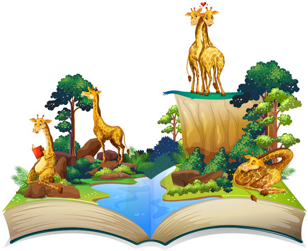 Illustration for Book of giraffes living by the river illustration - Royalty Free Image