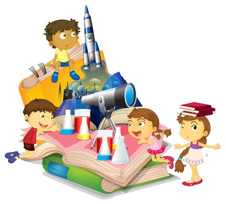 Illustration pour Science book with children and equipment illustration - image libre de droit