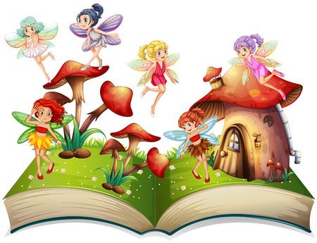 Illustration pour Fairies flying around the mushroom house illustration - image libre de droit