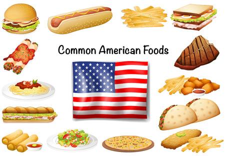 Vektor für Different common American food set illustration - Lizenzfreies Bild