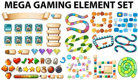 Illustration pour Game elements and template illustration - image libre de droit