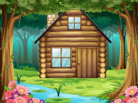 Illustration pour Wooden hut in the forest illustration - image libre de droit