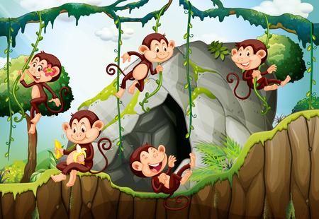 Illustration pour Five monkeys living in the forest illustration - image libre de droit