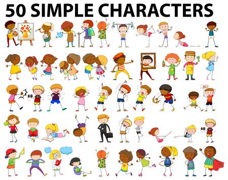 Illustration pour Fifty simple characters doing different activities illustration - image libre de droit