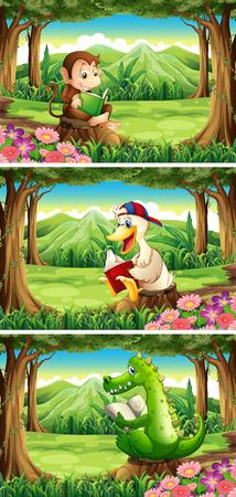 Illustration pour Wild animals reading book in the forest illustration - image libre de droit