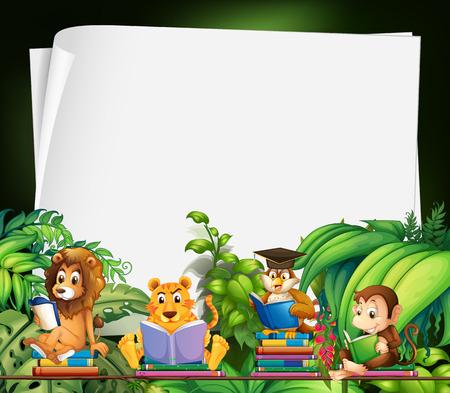 Illustration pour Border design with wild animals reading books illustration - image libre de droit