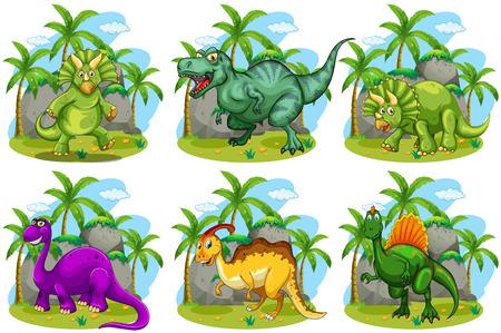 Ilustración de Six dinosaurs in the forest illustration - Imagen libre de derechos