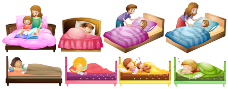 Illustration pour Boys and girls in bed illustration - image libre de droit