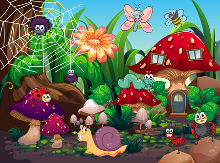 Illustration pour Insects living together in the garden illustration - image libre de droit
