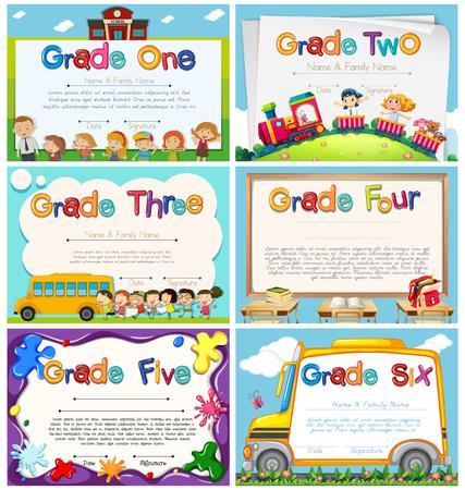 Illustration pour Diploma templates for primary school illustration - image libre de droit