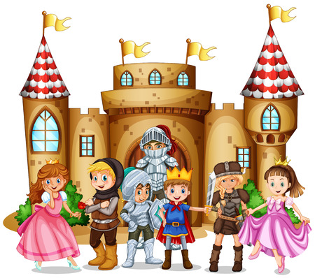 Illustration for Characters from fairytales and castle illustration - Royalty Free Image