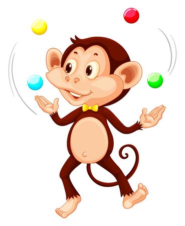 Happy monkey juggling balls illustration