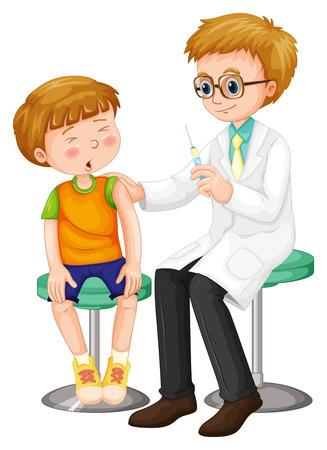 Illustration pour Doctor giving shot to the boy illustration - image libre de droit