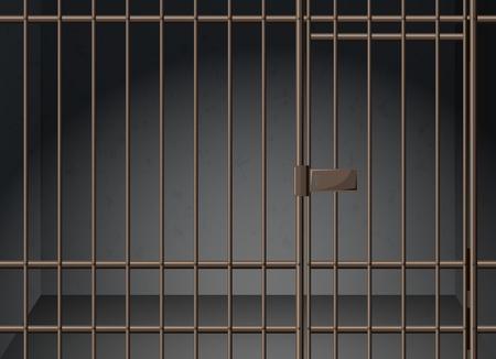 Illustration pour Prison cell with metal bars illustration - image libre de droit