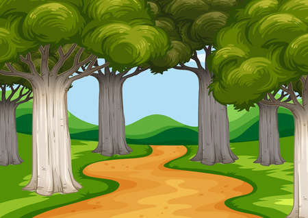 Illustration for Scene with trees along the road illustration - Royalty Free Image