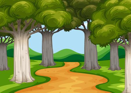 Illustration pour Scene with trees along the road illustration - image libre de droit