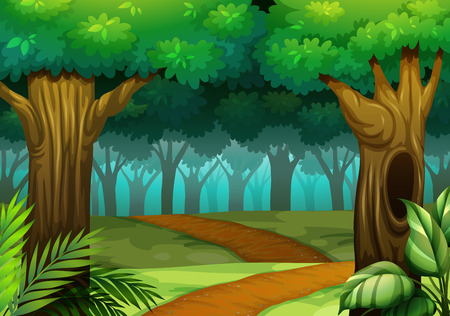 Illustration pour Forest scene with trail in the woods illustration - image libre de droit