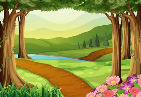 Illustration pour Nature scene with river and forest illustration - image libre de droit