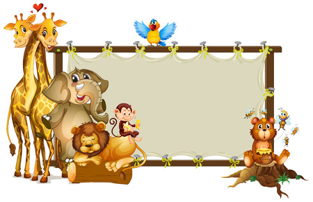Frame design with wild animals illustration