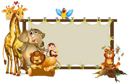 Frame design with wild animals illustration
