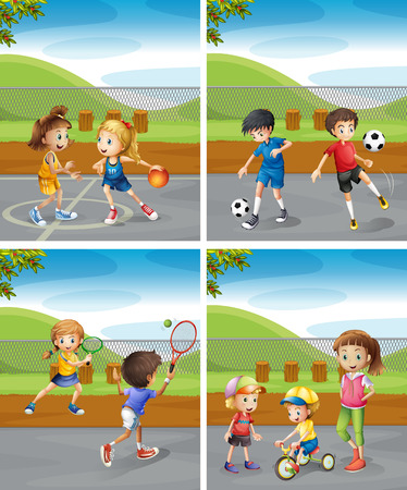 Illustration pour Children playing different sports in the park illustration - image libre de droit
