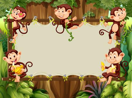 Ilustración de Frame design with monkeys in the woods illustration - Imagen libre de derechos