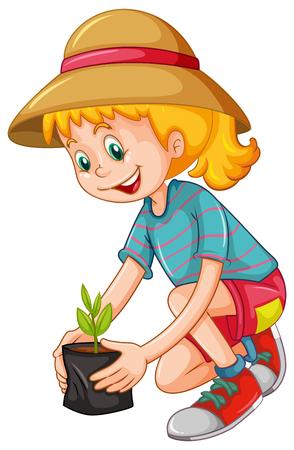 Illustration pour Happy girl planting the tree illustration - image libre de droit