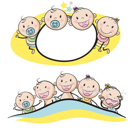 Photo pour Logo design with babies smiling illustration - image libre de droit