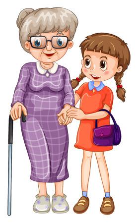 Little girl and grandmother illustration