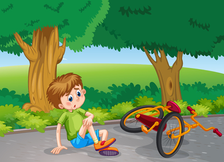 Illustration pour Boy falling down from bike in the park illustration - image libre de droit