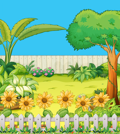 Illustration pour Scene with trees and flowers in backyard illustration - image libre de droit