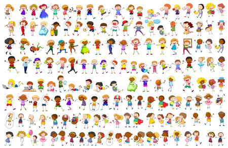 Ilustración de Simple characters in different actions illustration - Imagen libre de derechos