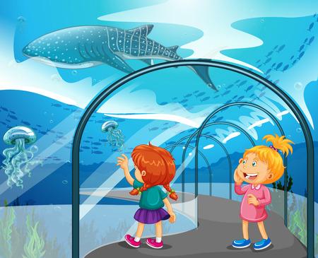 Illustration pour Two girls visiting aquarium illustration - image libre de droit