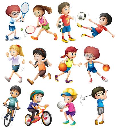 Ilustración de Children doing different sports illustration - Imagen libre de derechos