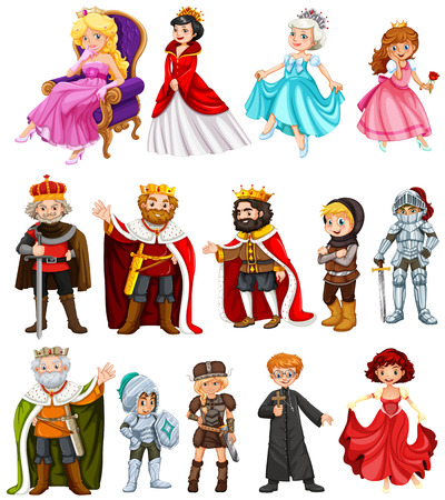 Illustration pour Different characters of king and queen illustration - image libre de droit