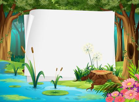 Illustration pour Paper design with pond in forest illustration - image libre de droit