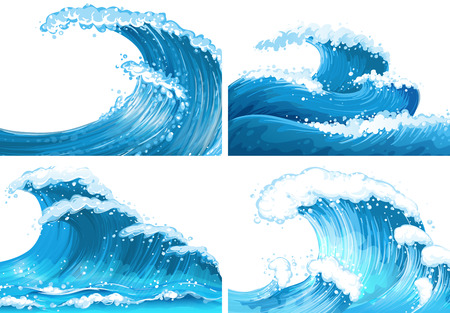 Illustration pour Four scenes of ocean waves illustration - image libre de droit