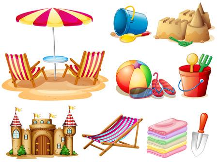 Illustration pour Beach set with seat and toys illustration - image libre de droit