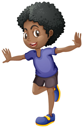 Illustration pour African american boy smiling illustration - image libre de droit