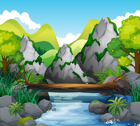 Illustration for Scene with mountains and river illustration - Royalty Free Image