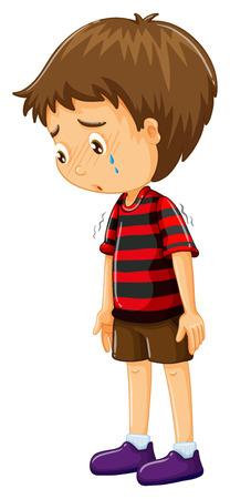 Illustration pour Sad boy with his head down illustration - image libre de droit