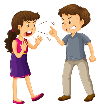 Illustration pour Man and woman fighting illustration - image libre de droit