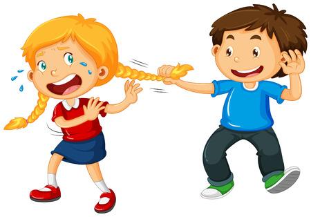Ilustración de Boy pulling girl hair illustration - Imagen libre de derechos