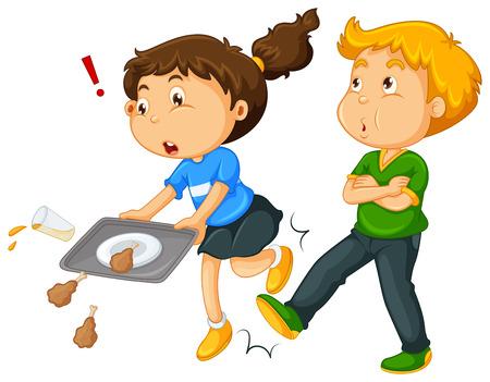 Illustration for Boy kicking girl's leg  illustration - Royalty Free Image