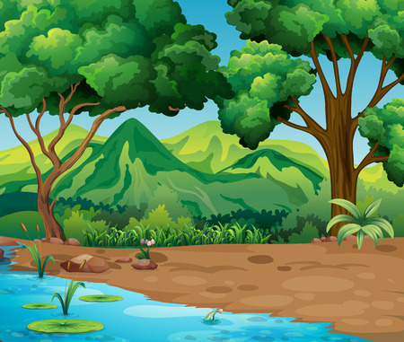 Illustration for Scene with trees and river in forest illustration - Royalty Free Image