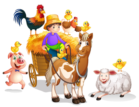 Photo for Farmer and many farm animals illustration - Royalty Free Image