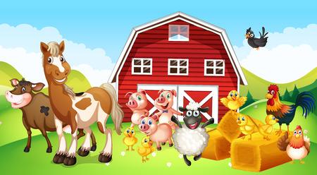 Farm animals living on the farm illustration