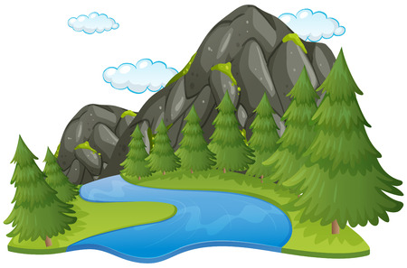 Illustration for Scene with river and mountain illustration - Royalty Free Image