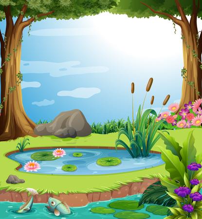 Ilustración de Forest scene with fish in the pond illustration - Imagen libre de derechos